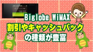 12.3 Biglobe WiMAXも割引やキャッシュバックの種類が豊富